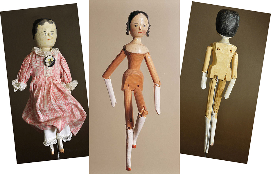 historical examples of dutch dolls, also known as peg wooden dolls; photographs by Wolfgang Moroder